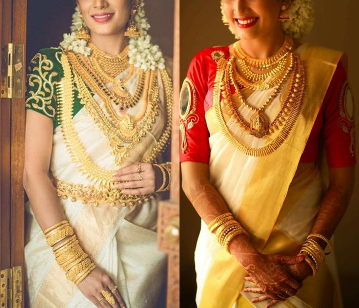 Traditional Kerala bride is beautifully clad in gold jewellery that makes her look divine.