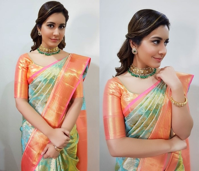 Ethnic bold necklace with sarees