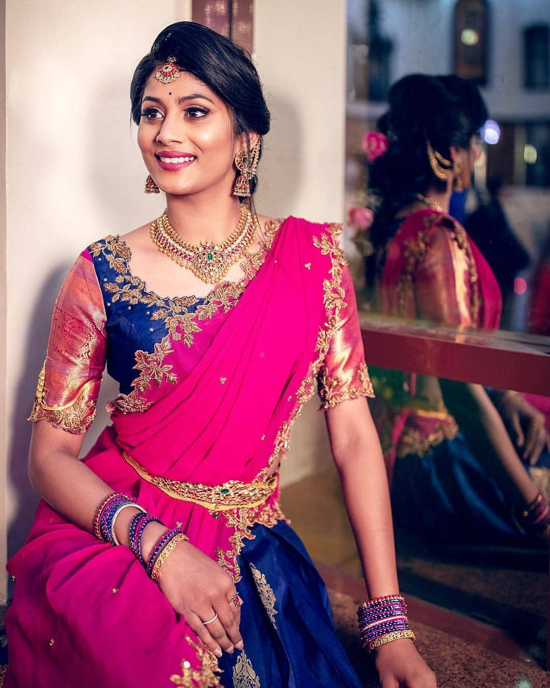saree-with-bold-antique-gold-jewellery (2)