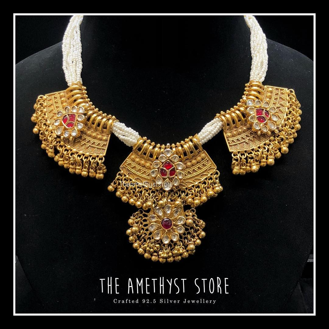 gold-plated-pure-silver-antique-necklace-designs (1)