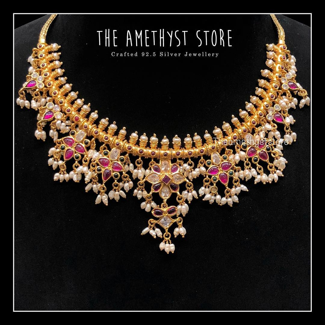 gold-plated-pure-silver-antique-necklace-designs (11)