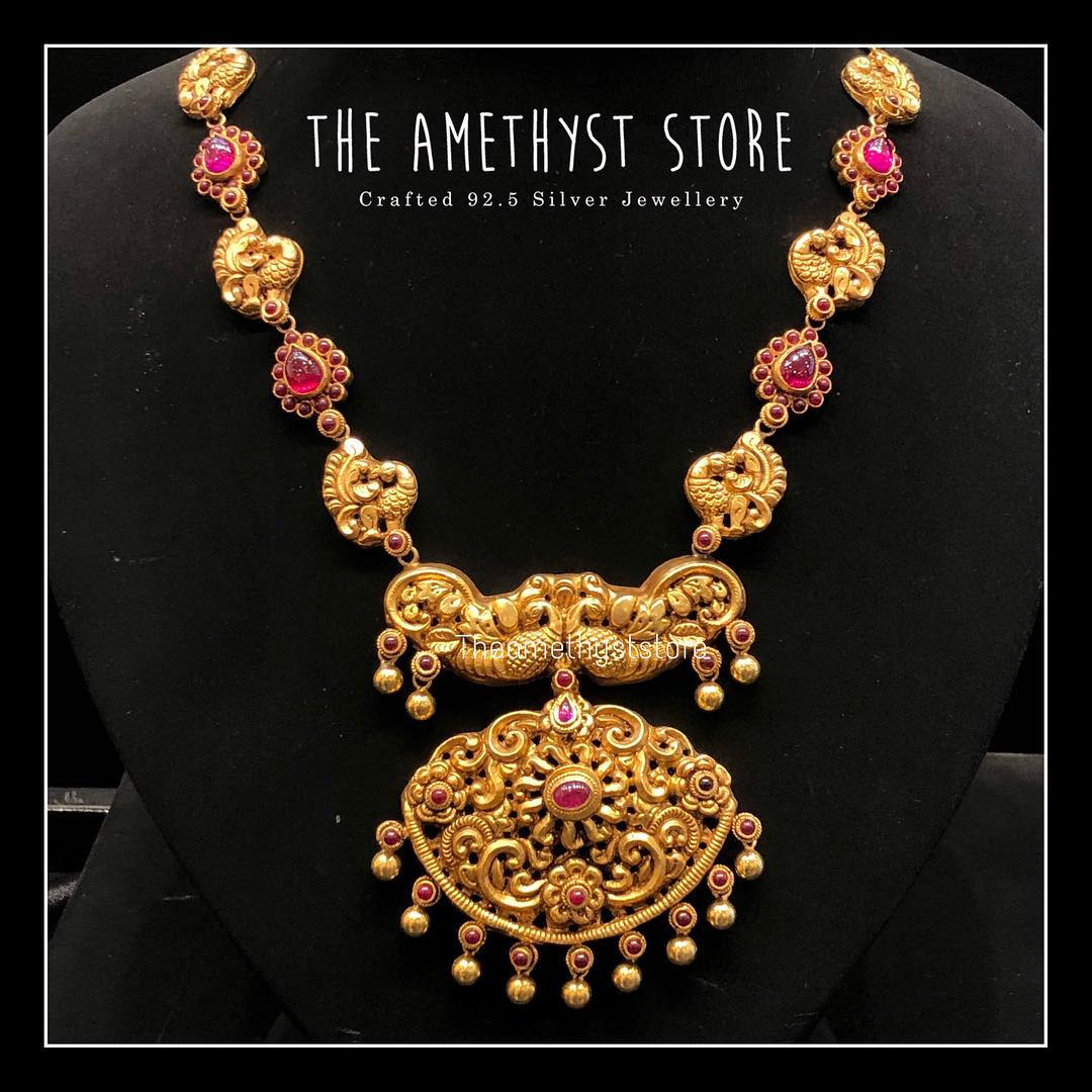 gold-plated-pure-silver-antique-necklace-designs (12)