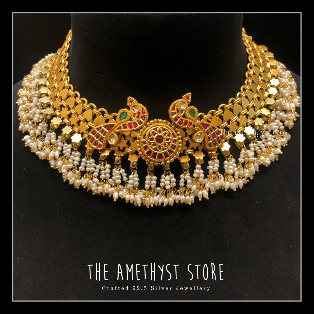 gold-plated-pure-silver-antique-necklace-designs (2)