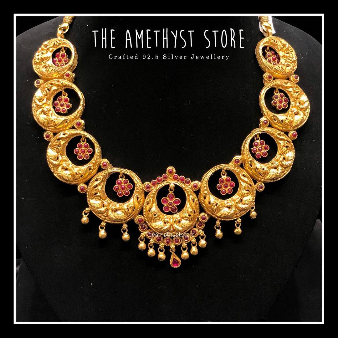 gold-plated-pure-silver-antique-necklace-designs (4)
