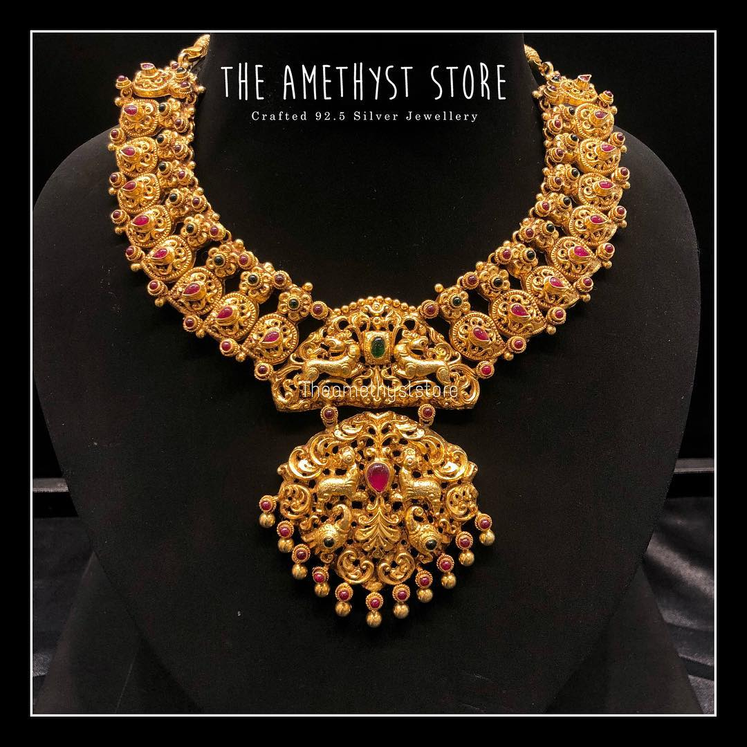gold-plated-pure-silver-antique-necklace-designs (5)