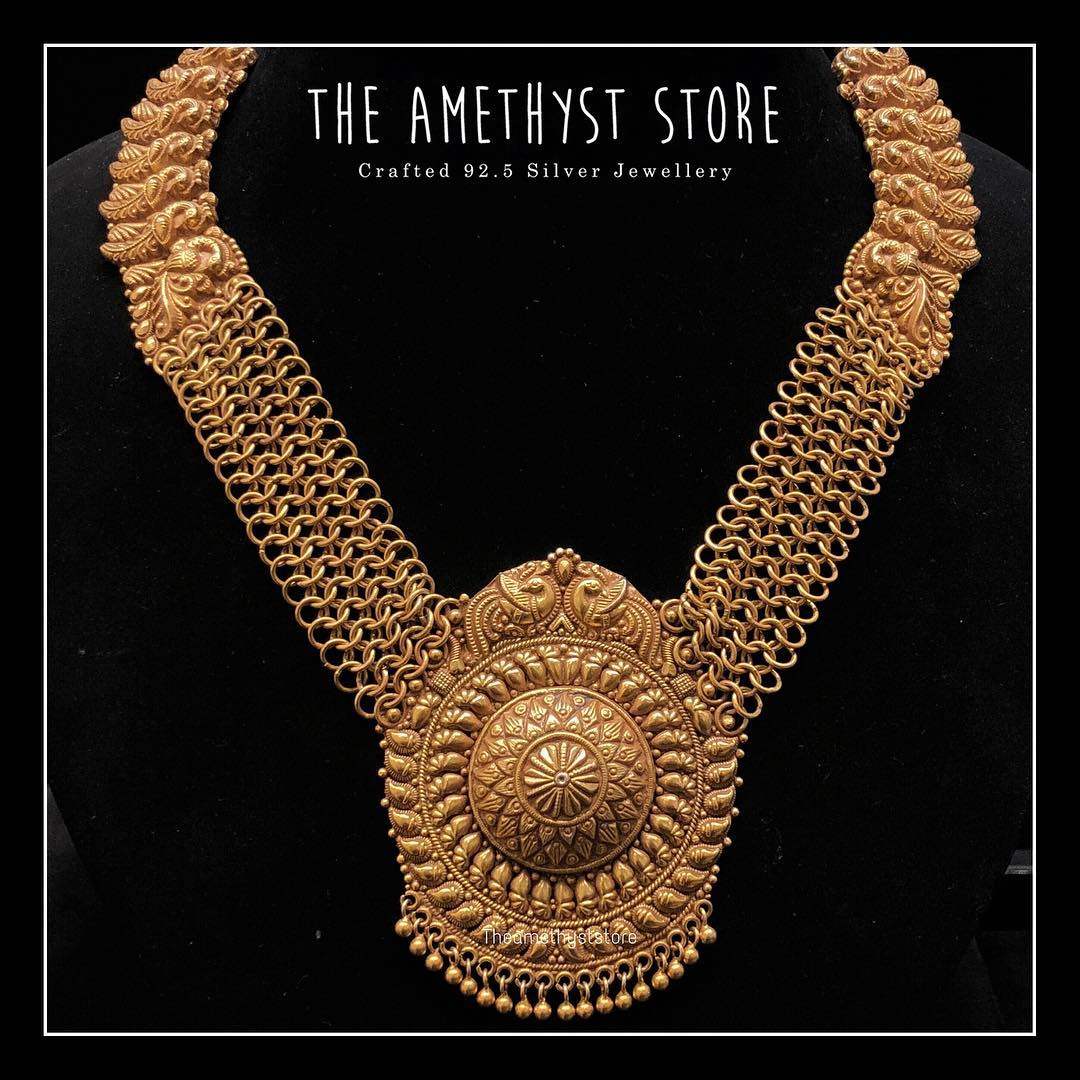 gold-plated-pure-silver-antique-necklace-designs (8)