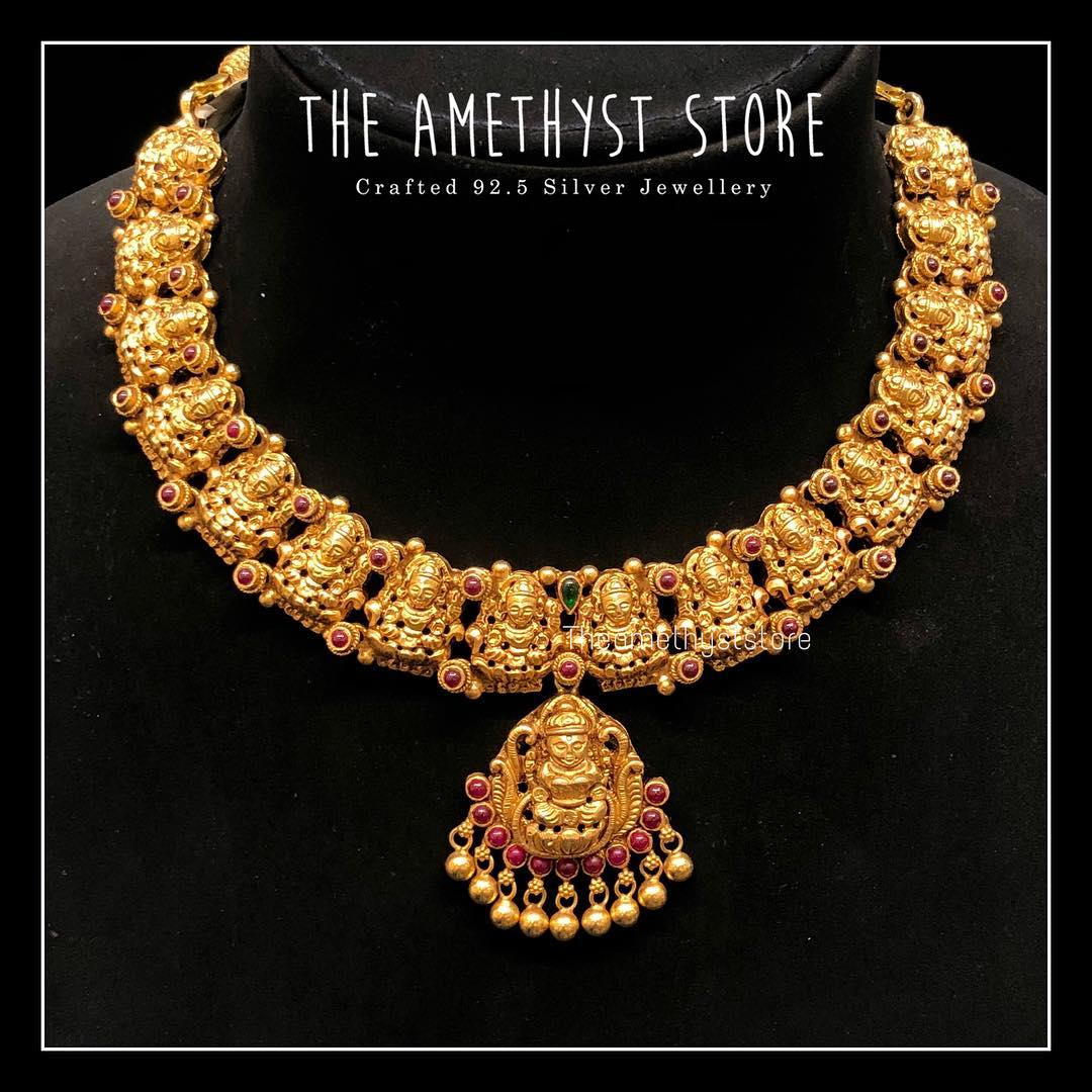 gold-plated-pure-silver-antique-necklace-designs (9)
