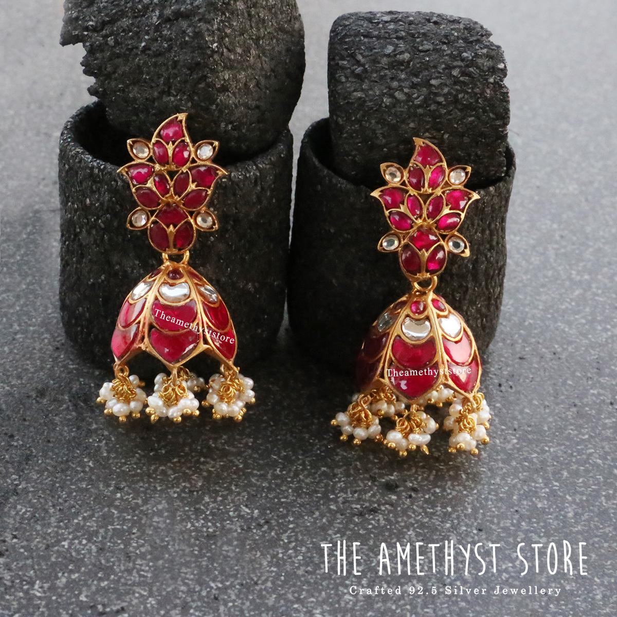gold-plated-antique-silver-jhumka-designs (4)