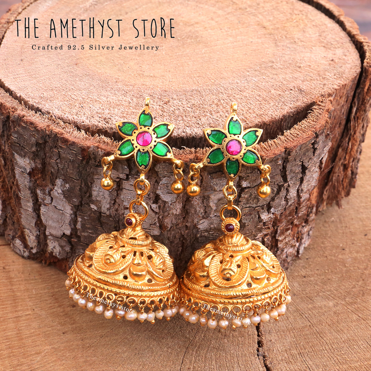 gold-plated-antique-silver-jhumka-designs (6)
