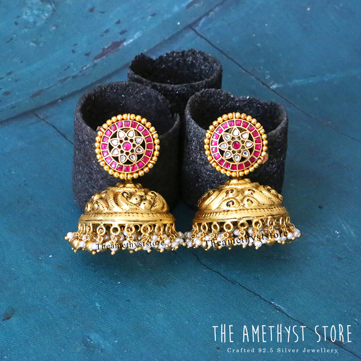 gold-plated-antique-silver-jhumka-designs (8)