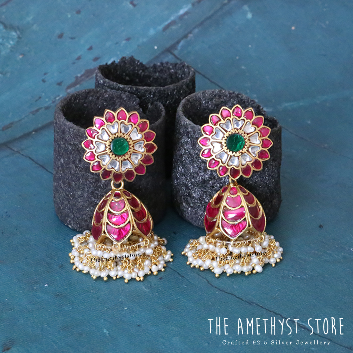 gold-plated-antique-silver-jhumka-designs (9)