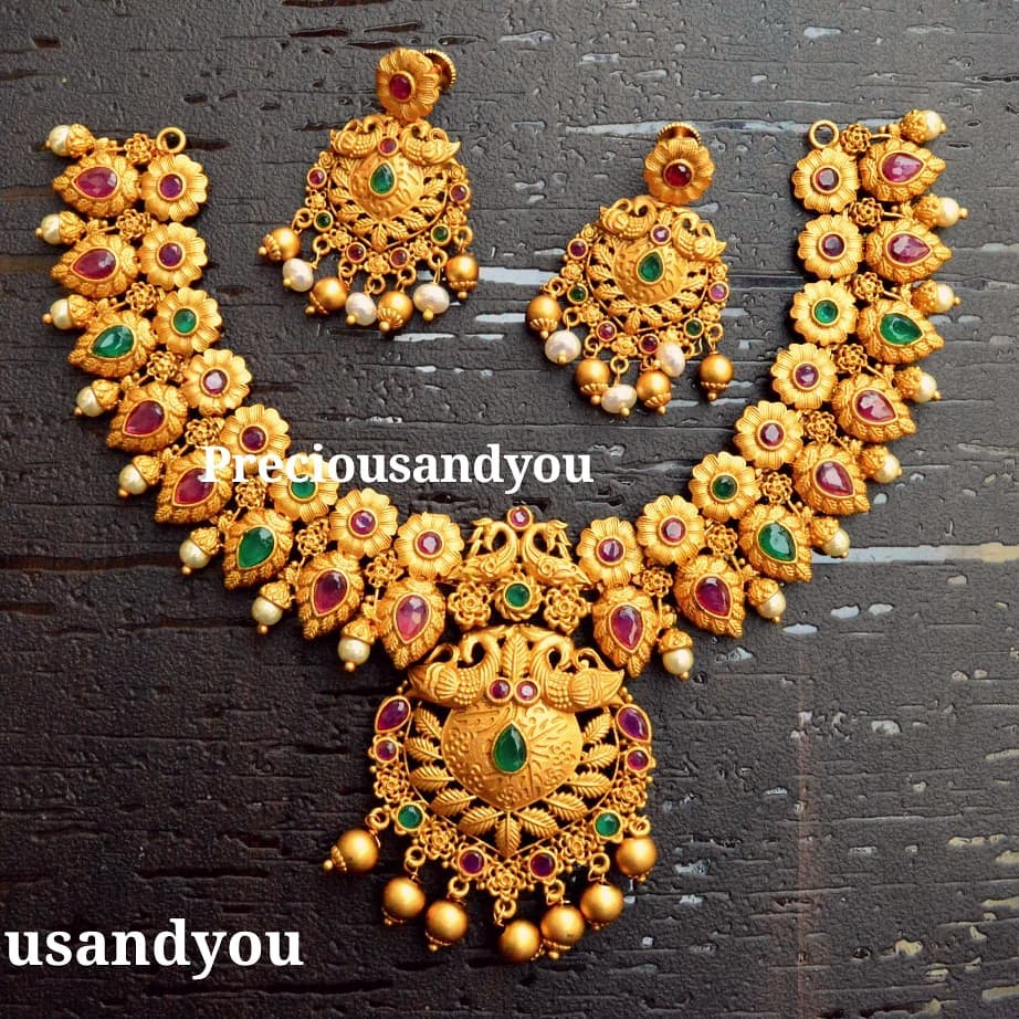 indian ruby emerald necklace designs