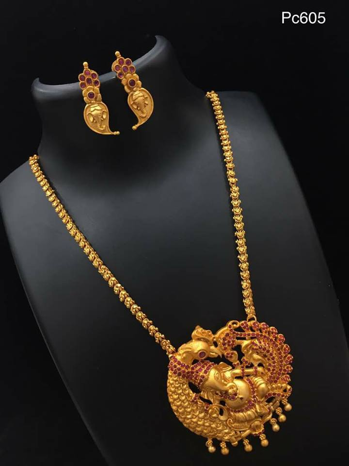 17 Gorgeous One Gram Gold Long Chain Collections Where To Shop Them South India Jewels