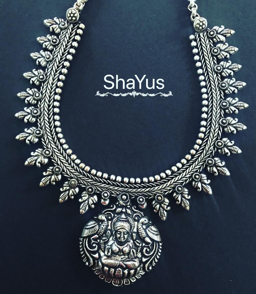 oxidized antique silver necklace designs