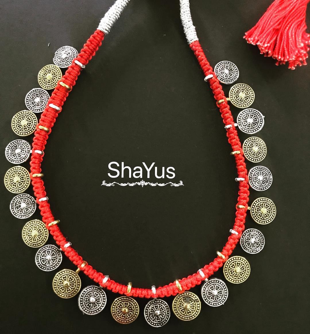 oxidized antique silver necklace designs