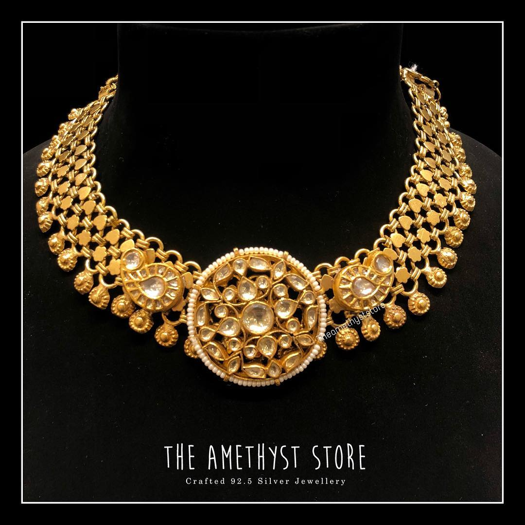 gold-plated-pure-silver-antique-necklace-designs (6)