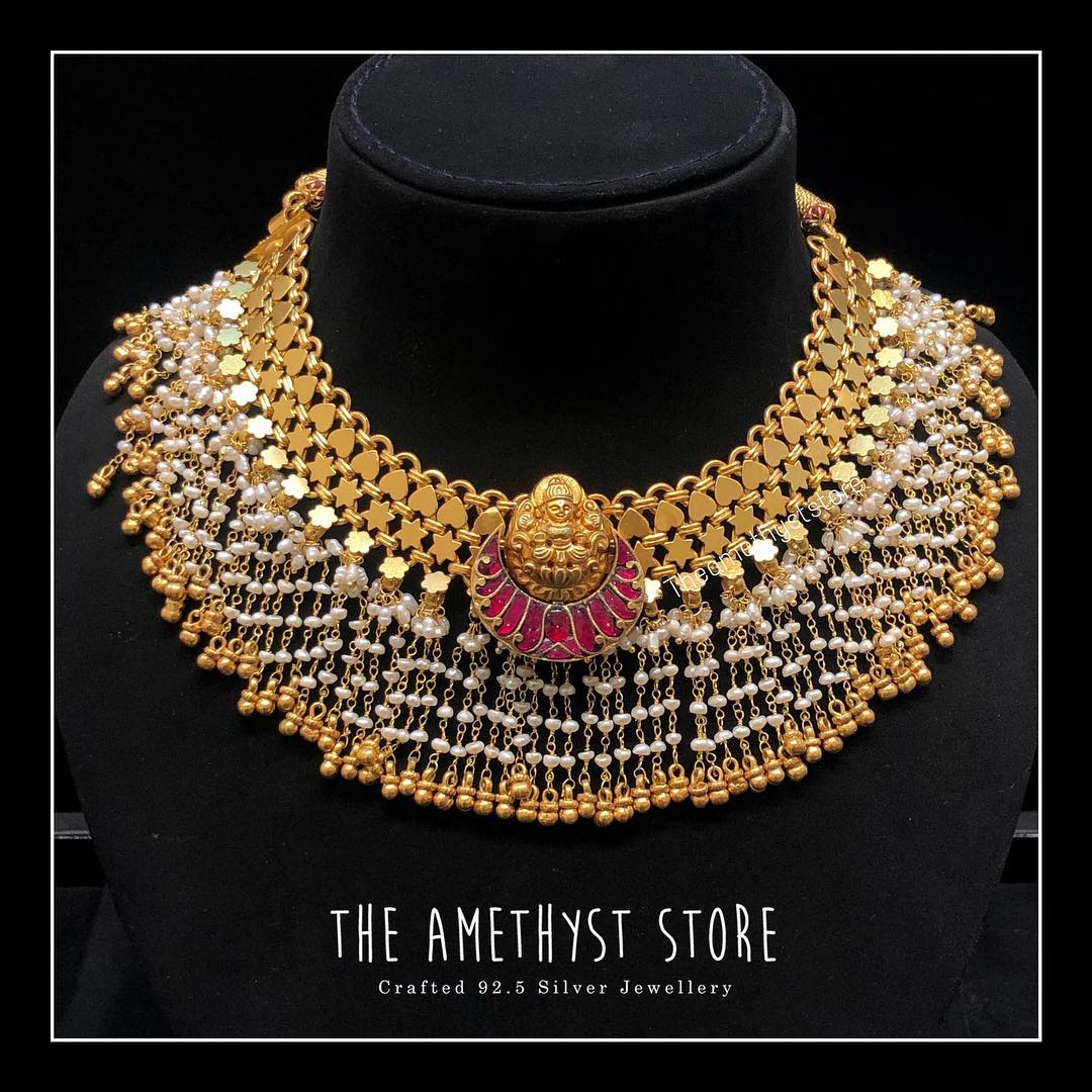 gold-plated-pure-silver-antique-necklace-designs (7)