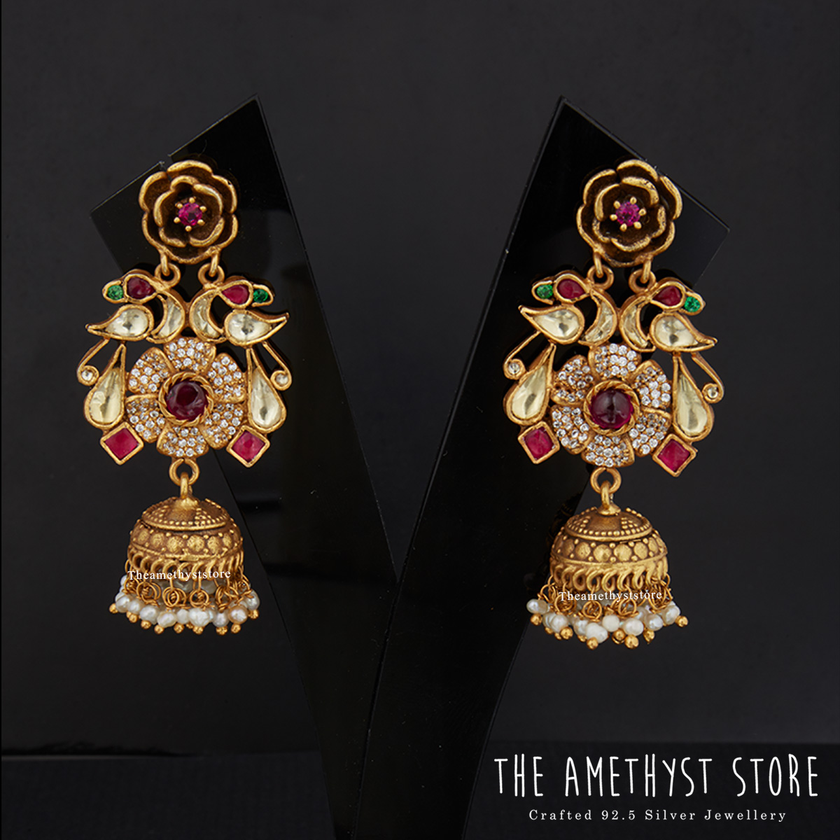gold-plated-antique-silver-jhumka-designs (2)