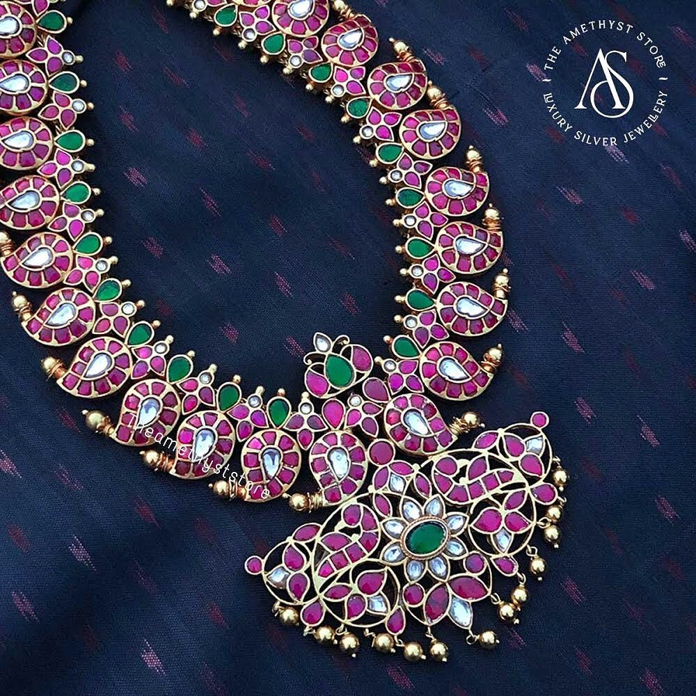 south-indian-antique-ruby-necklace-designs-8