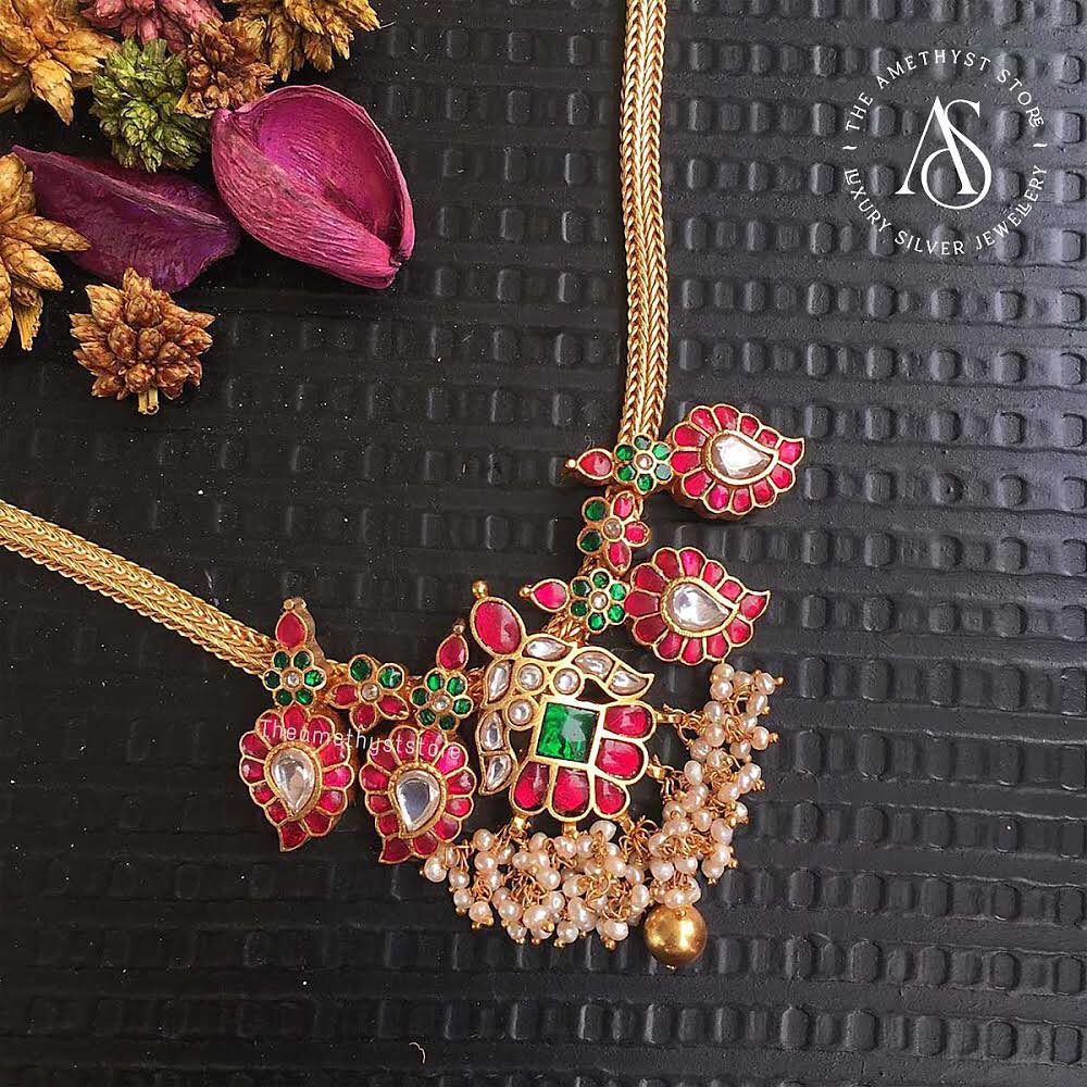 south-indian-antique-ruby-necklace-designs