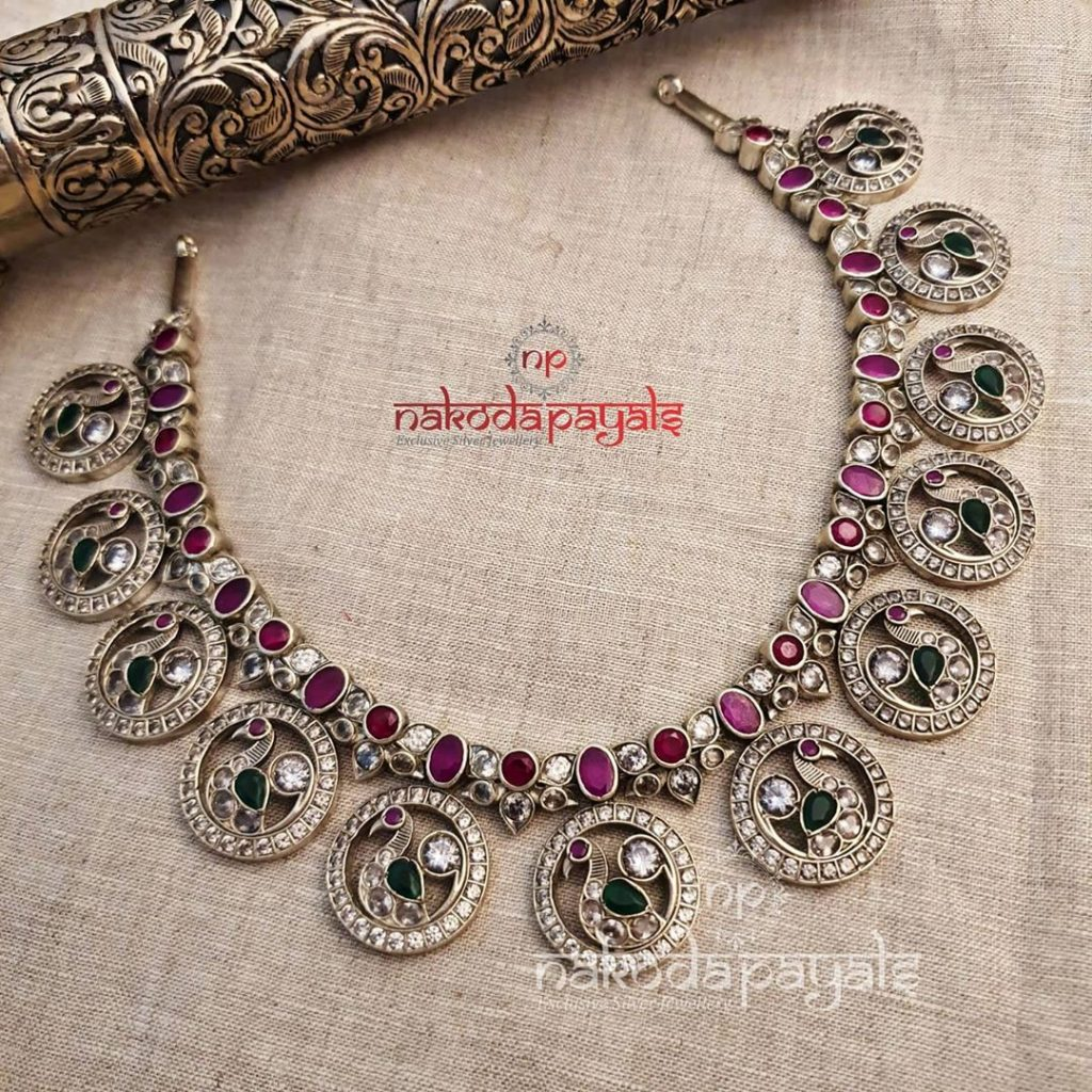 silver-necklace-for-saree-18