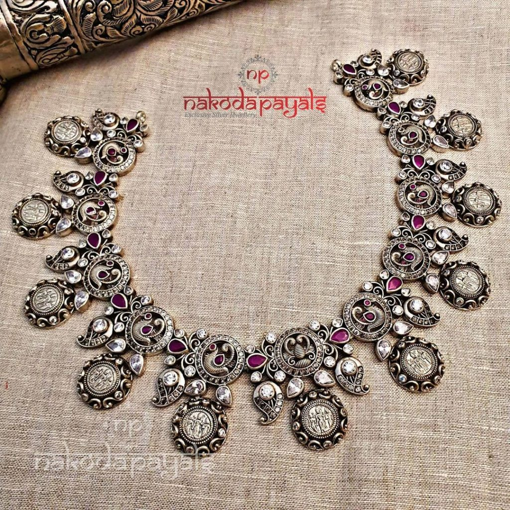 silver-necklace-for-saree-2