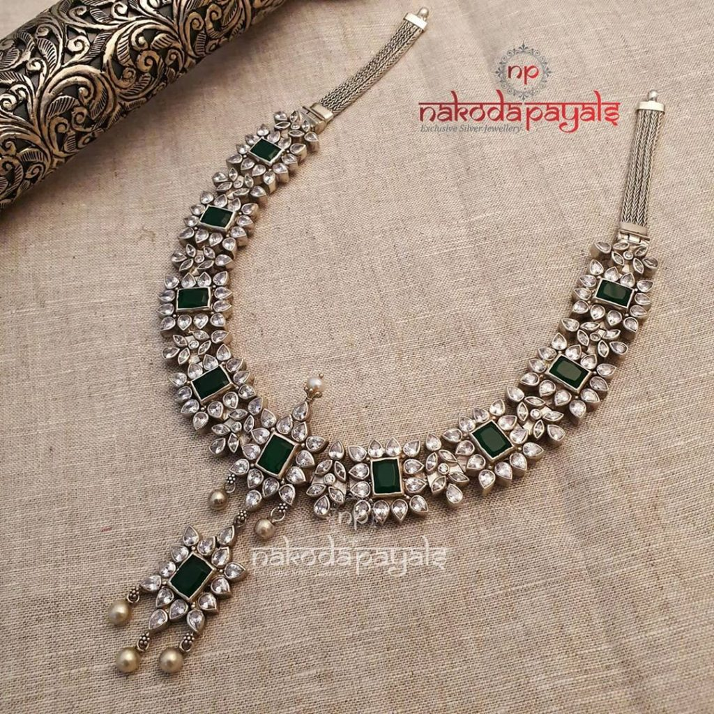 silver-necklace-for-saree-5